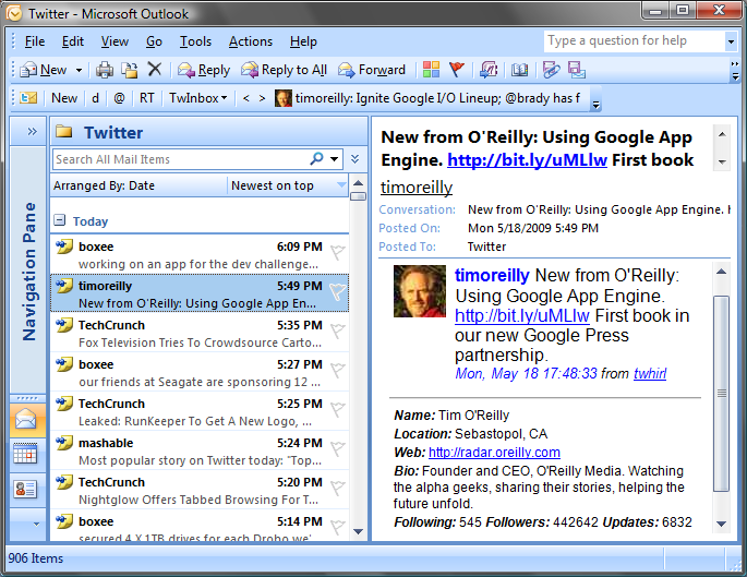 Manage your Twitter Feeds in Outlook with TwInBox