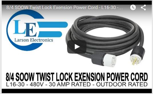 100' Twist Lock Extension Power Cord