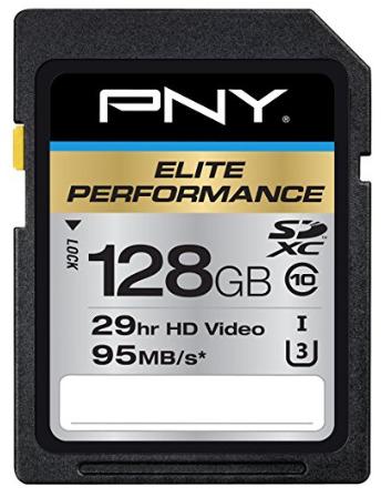 SD PNY Elite Performance 128 GB High Speed SDXC Class 10 UHS-I, U3