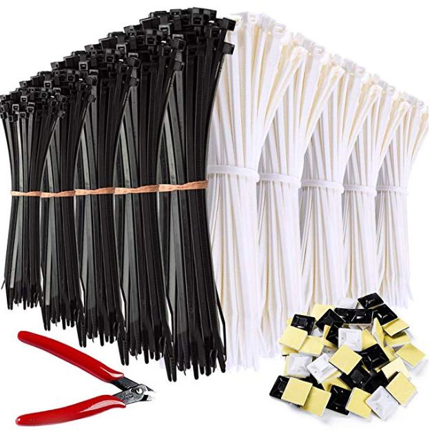 Zip Ties 1000 Pcs Nylon Cable Zip Ties with Self-Locking 4_6_8_10_12 Inch A