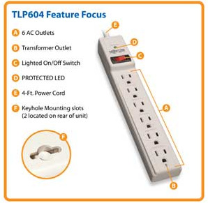 Gifts_10 Tripp Lite 6 Outlet Surge Protector Power Strip (TLP604)